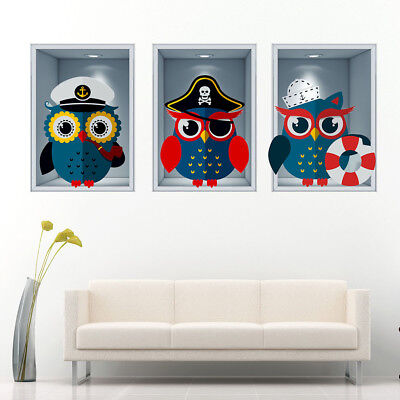 J267 Pirate Owls Nautical Kids Boys Wall Stickers Bedroom Girls Boys Living Kids • 44.49£