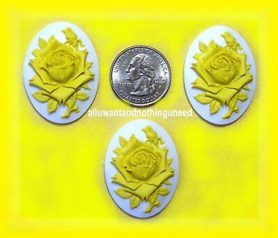 $2.99 • Buy 3 Unset BRIGHT YELLOW Color Rose On WHITE 40mm X 30mm Costume Jewelry CAMEOS