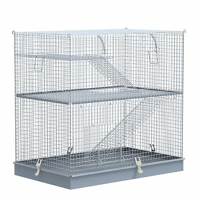 £62.99 • Buy PawHut 3-Level Hamster Cage Small Animal Rat Pet Hutch Easy Clip Base Ladder