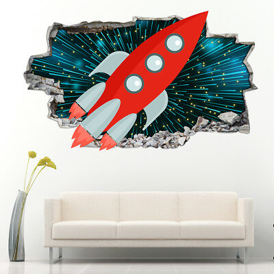 Wall Stickers Kids Space Ship Stars Galaxy Bedroom Girls Boys Living Room AA018 • 12.99£