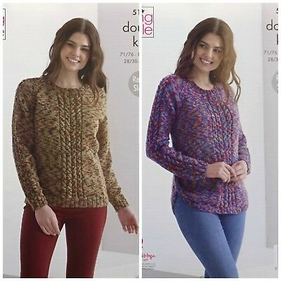 KNITTING PATTERN Ladies Scooped Or Straight Hem Cable Jumper DK King Cole 5133 • 3.95£