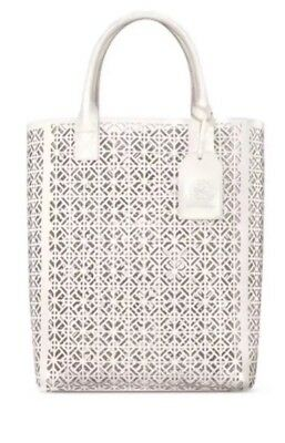 9e385397983 Tory Burch Large White Perforated Patent Leather Tote Bag Purse Handbag .  New • 34.99