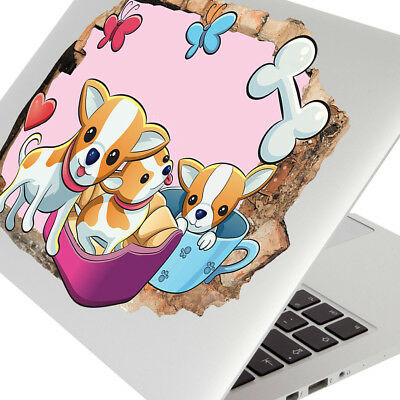 Wall Stickers Chihuahua Dog Puppy Girl Pink Laptop Girls Boys Living Door G624 • 7.99£