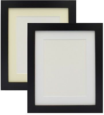 Black Photo Picture Frame Poster Frame With Mount Various Size White Ivory Mount • 18.99£