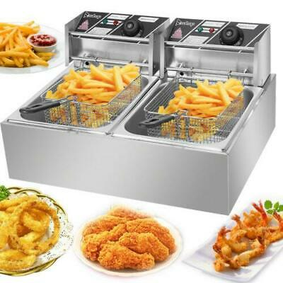 $96.99 • Buy 5000W Electric Deep Fryer 12L Dual Tank Commercial Restaurant Frying Basket