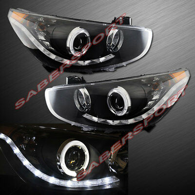 $289 • Buy Set Of Pair Black Halo Projector Headlights W/ LED Parking For 2012-2013 Accent