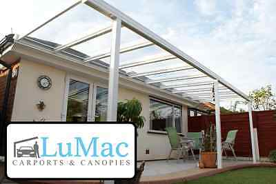 £847.49 • Buy GLASS Clear Carport Patio Canopy Cover Lean To Awning Garden Fixed Aluminium