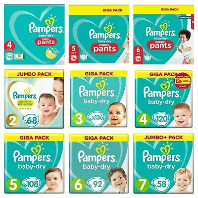 View Details Pampers Baby Dry Nappy Pants Diaper Taped Stretchy Nappies Size 4 5 6 Giga Pack • 15.92£