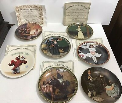 $ CDN101.24 • Buy Lot Of 7 NORMAN ROCKWELL PLATES - Certificates Of Authenticity - Christmas Magic
