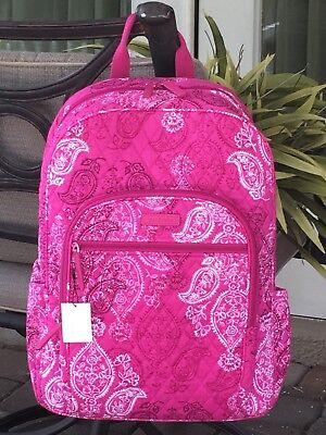 10e1ed7805e7 Vera Bradley Campus Backpack School College Book Bag  109 Pink Stamped  Paisley • 59.99