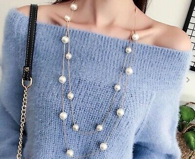 Long Statement Sweater Gold Silver Faux Pearl Fashion Necklace Bridal Gift Bag • 4.99£