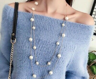 £5.35 • Buy Long Statement Sweater Gold Silver Faux Pearl Fashion Necklace Bridal Gift Bag
