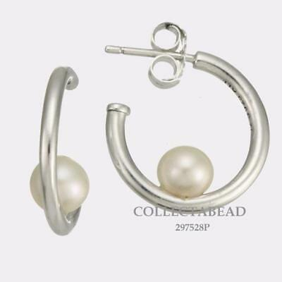 Authentic Pandora Sterling Silver Contemporary Pearl Hoop Earrings 297528P • 41.58£