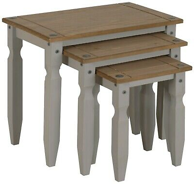 £41.99 • Buy Corona Nest Of Tables Grey Wax Piccolo Solid Pine 3 Living By Mercers Furniture®