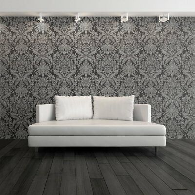 Signature Black And Silver Damask Wallpaper By Crown Floral Leaf Feature M1065 • 9.99£