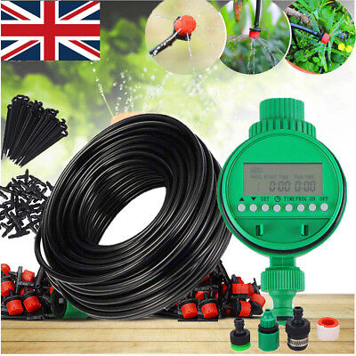Automatic Drip Irrigation System Kit Plant Timer Self Watering Garden Hose 25M • 14.99£