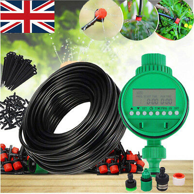 Automatic Drip Irrigation System Kit Plant Timer Self Watering Garden Hose 25M • 14.19£