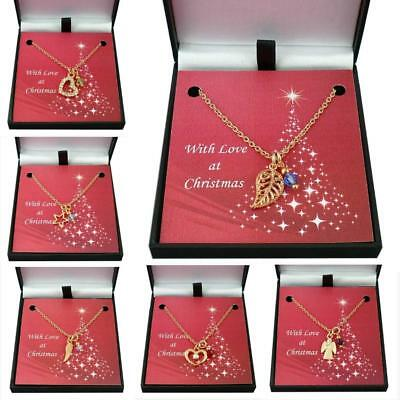 Rose Gold Necklaces With Birthstones, Christmas Gift, Women, Girls, Leaf, Angel • 11.99£