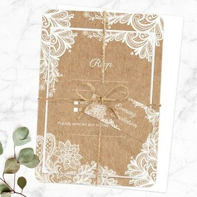 Rustic Lace Pattern - Evening Wedding Invitations & RSVP - Pack Of 10 • 9.50£