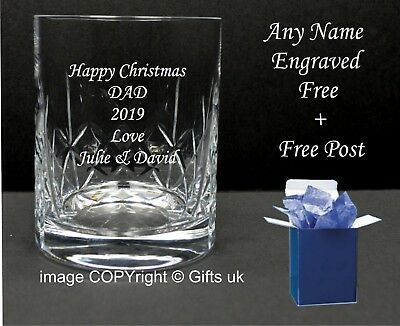 Personalised Engraved Crystal Whisky Glass 40th 50th 60th Birthday In Blue Box • 11.95£