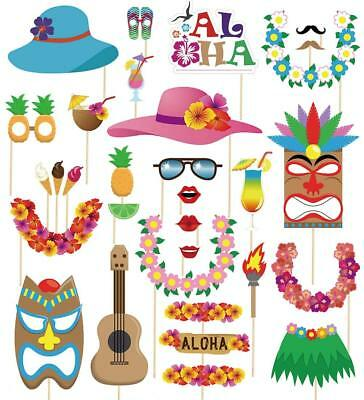 60pcs Luau Photo Booth Props Hawaiian Summer Pool Party Decorations Supplies • 4.69£