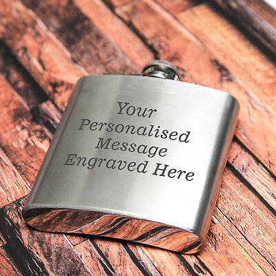 £6.99 • Buy Personalised Engraved Stainless Steel 6oz Hip Flask - WOW!!