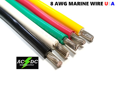 8 AWG GAUGE MARINE TINNED COPPER BATTERY CABLE BOAT WIRE Made In USA  • 13.50$