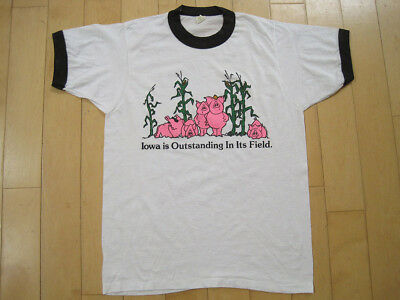 $ CDN25.16 • Buy FUNNY!! 80s Vtg IOWA IS OUTSTANDING IN ITS FIELD Pig T SHIRT 50/50 SMALL