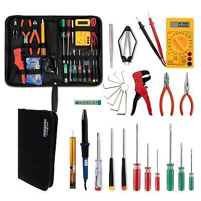 Electricians Work Tools Kit Case Pouch Pliers Screwdrivers Soldering Iron Meter • 36.99£