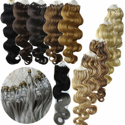 £25.50 • Buy 20Inch Ombre Wavy&curly Loop Micro Ring Silicone Bead Remy Human Hair Extensions