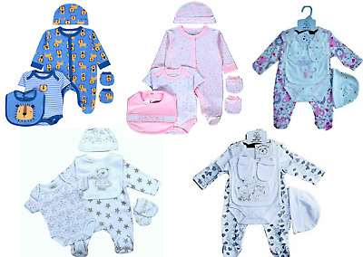Baby Boys/Girls Baby-grows Bodysuits Sleep-suits Playsuits Gift Set 5 Piece Sets • 12£