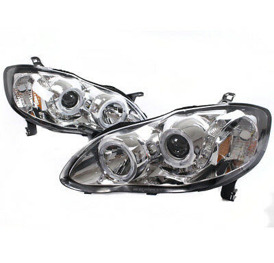 $56.99 • Buy For 2003-2008 Toyota Corolla Le Ce S Xrs Led Halo Projector Headlights Used