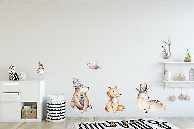 Woodland Forest Animals Wall Decal Wall Sticker Set For Childrens Nursery Decor • 68.73£