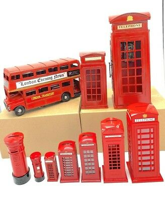 London Souvenirs Die Cast Red  Telephone Box & Red Post Box • 7.99£