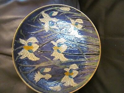 2 X Brass Enamel Antique Floral Wall Plate And Lidded Dish Indian • 16£