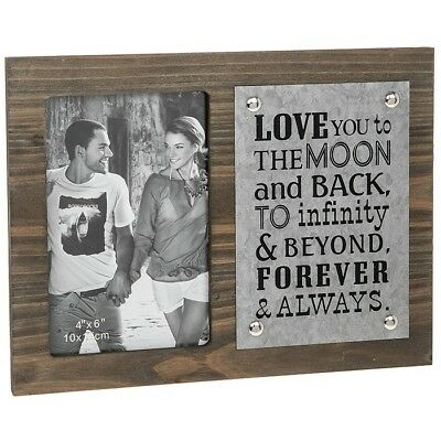 Wooden Photo 4x6 Frame With Sentiment Anniversary Boyfriend  GIFT FREE P&P • 8.99£