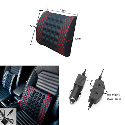 $ CDN24.31 • Buy New PU Leather Car Seat Lumbar Massage Vibration Waist Cushion W/12V Car Charger