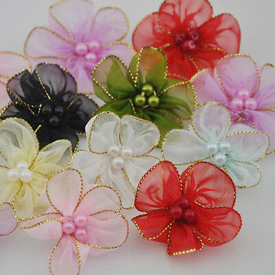 40pcs Organza Ribbon W/beads Flowers Wedding Sewing Appliques Crafts A27 • 2.39£