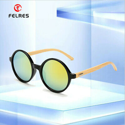 AU8.35 • Buy Handmade Men Women Bamboo Wood Sunglasses Wooden Temple Round Retro Glasses