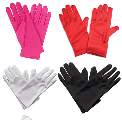£2.99 • Buy Ladies Womens Short Satin Style Gloves Red Party Wedding Fancy Dress Costume UK
