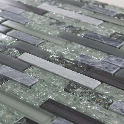 Luxury Textured Grey, Khaki Crackled Glass & Stone Mosaic Wall Tiles Sheet 8mm • 7.95£