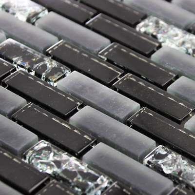 Luxury Gloss Black, Matt Grey & Crackled Glass Mosaic Wall Tiles Sheet 8mm • 7.95£