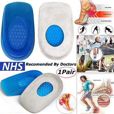 Heel Cups Insoles Plantar Fasciitis Heel Cushion Gel Soft Heel Support Pad UK • 2.95£