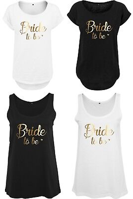 £14.50 • Buy Bride To Be Ladies T-Shirts Vests Wedding Party Hen Do Gold Heart Printed Tops