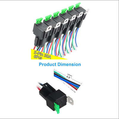 $ CDN26.70 • Buy 6 PACK 12V 5-Pin 30A Fuse Relay Switch Harnes Kit SPDT 14AWG Wire NEW