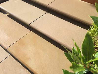 Textured Raj Green Bull Nose Steps/Wall Coping 600x350x30mm Indian Sandstone • 5.99£