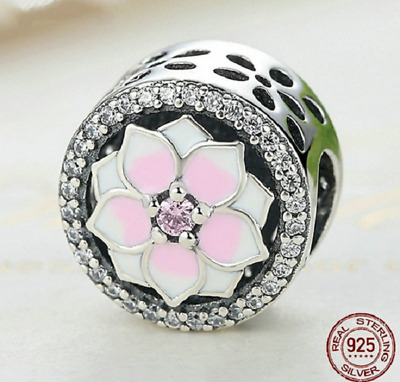 $22.99 • Buy 100% 925 Sterling Silver Magnolia Bloom With Pink CZ Beads Charm Pandora