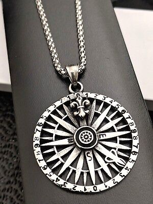 Mens Chunky Gothic Biker Silver Steel Vintage Compass Necklace Gift 18  - 30  • 17.99£