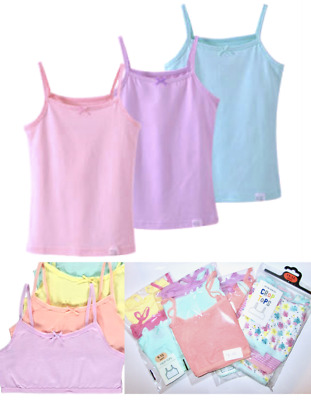 Kids Girls Sleeveless Short Crops Camisoles 3 Vests Pack 100% Cotton 2 To 14 YRS • 5.99£