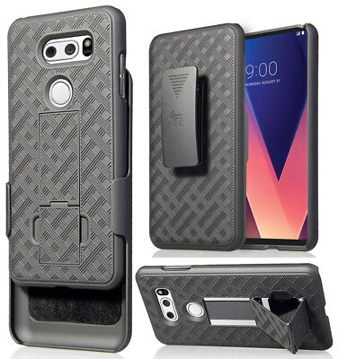 AU13.04 • Buy Black Kickstand Case Cover + Belt Clip Holster For LG V30/V30 Plus/V30+/V30s/V35